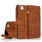 Skin-feel Crazy Horse Texture Zipper Wallet Bag Horizontal Flip Leather Case with Holder & Card Slots & Wallet & Lanyard For iPhone SE 2020 / 8 / 7(Brown)