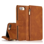 Skin-feel Crazy Horse Texture Zipper Wallet Bag Horizontal Flip Leather Case with Holder & Card Slots & Wallet & Lanyard For iPhone 8 Plus / 7 Plus(Brown)