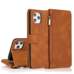 Skin-feel Crazy Horse Texture Zipper Wallet Bag Horizontal Flip Leather Case with Holder & Card Slots & Wallet & Lanyard For iPhone 11(Brown)