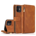 Skin-feel Crazy Horse Texture Zipper Wallet Bag Horizontal Flip Leather Case with Holder & Card Slots & Wallet & Lanyard For iPhone 12 / 12 Pro(Brown)