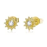 S925 Sterling Silver Gold Sun Flower Women Earrings