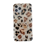 Glossy Leopard Pattern Shockproof TPU Case with Diamond Ring Holder For iPhone 12 / 12 Pro(White)