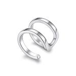 S925 Sterling Silver Silver Double-ring Ear Clip Women Earrings