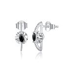 S925 Sterling Silver Silver Black White Zircon Ear Studs Women Earrings