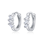 S925 Sterling Silver Silver Cube Ear Buckle Women Earrings