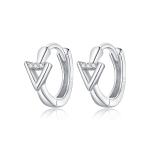 S925 Sterling Silver Silver Triangle Ear Buckle Women Earrings