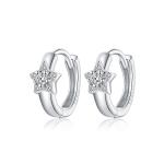 S925 Sterling Silver Silver Shining Stars Ear Buckle Women Earrings