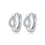 S925 Sterling Silver Silver Shining Water Droplets Ear Buckle Women Earrings