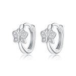 S925 Sterling Silver Silver Bright Butterfly Ear Buckle Women Earrings