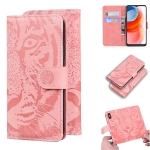 For Motorola Moto G Play (2021) Tiger Embossing Pattern Horizontal Flip Leather Case with Holder & Card Slots & Wallet(Pink)