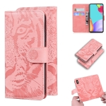 For Samsung Galaxy A52 5G Tiger Embossing Pattern Horizontal Flip Leather Case with Holder & Card Slots & Wallet(Pink)