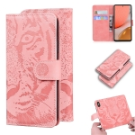 For Samsung Galaxy A72 5G Tiger Embossing Pattern Horizontal Flip Leather Case with Holder & Card Slots & Wallet(Pink)
