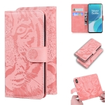 For OnePlus 9 Tiger Embossing Pattern Horizontal Flip Leather Case with Holder & Card Slots & Wallet(Pink)