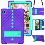Shockproof Rhombus Robot PC + Silicone Protective Case with Holder & Shoulder Strap For Samsung Galaxy Tab A7 10.4 (2020)(Purple+Mint Green)