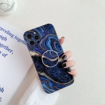 Glossy Marble Texture Protective Case with Holder For iPhone 12(Dark Purple)