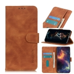 For Samsung Galaxy A02s (164mm US Version) KHAZNEH Retro Texture PU + TPU Horizontal Flip Leather Case with Holder & Card Slots & Wallet(Brown)