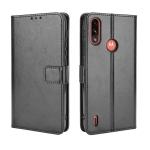 For Motorola Moto E7 Power Retro Crazy Horse Texture Horizontal Flip Leather Case with Holder & Card Slots & Lanyard(Black)