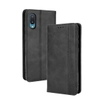 For Samsung Galaxy A02 / M02 Magnetic Buckle Retro Crazy Horse Texture Horizontal Flip Leather Case with Holder & Card Slots & Photo Frame(Black)