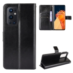 For OnePlus 9 Pro Retro Crazy Horse Texture Horizontal Flip Leather Case with Holder & Card Slots & Lanyard(Black)