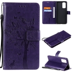 For OPPO Reno5 5G Tree & Cat Pattern Pressed Printing Horizontal Flip PU Leather Case with Holder & Card Slots & Wallet & Lanyard(Purple)