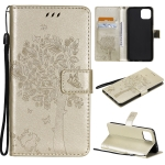 For OPPO A73 5G Tree & Cat Pattern Pressed Printing Horizontal Flip PU Leather Case with Holder & Card Slots & Wallet & Lanyard(Gold)