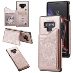 For Samsung Galaxy Note9 Flower Embossing Pattern Shockproof Protective Case with Holder & Card Slots & Photo Frame(Rose Gold)