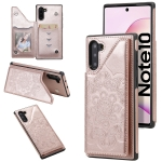 For Samsung Galaxy Note10 Flower Embossing Pattern Shockproof Protective Case with Holder & Card Slots & Photo Frame(Rose Gold)