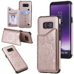 For Samsung Galaxy S8 Plus Flower Embossing Pattern Shockproof Protective Case with Holder & Card Slots & Photo Frame(Rose Gold)