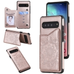 For Samsung Galaxy S10 Flower Embossing Pattern Shockproof Protective Case with Holder & Card Slots & Photo Frame(Rose Gold)