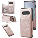 For Samsung Galaxy S10 Plus Flower Embossing Pattern Shockproof Protective Case with Holder & Card Slots & Photo Frame(Rose Gold)