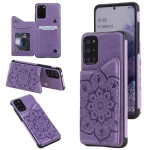 For Samsung Galaxy S20+ Flower Embossing Pattern Shockproof Protective Case with Holder & Card Slots & Photo Frame(Purple)