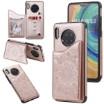 For Huawei Mate 30 Flower Embossing Pattern Shockproof Protective Case with Holder & Card Slots & Photo Frame(Rose Gold)