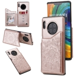 For Huawei Mate 30 Pro Flower Embossing Pattern Shockproof Protective Case with Holder & Card Slots & Photo Frame(Rose Gold)