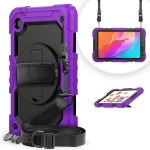 For Huawei MatePad T8 Shockproof Colorful Silicone + PC Protective Case with Holder & Shoulder Strap & Hand Strap(Purple)