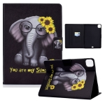Electric Pressed TPU Colored Drawing Horizontal Flip Leather Case with Holder & Pen Slot For iPad Pro 11 (2018) / (2020) & iPad Air (2020)(Flower Elephant)