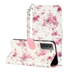 For Samsung Galaxy S21+ 5G 3D Pattern Horizontal Flip Leather Case with Holder & Card Slots & Wallet & Lanyard(Rose Flower)