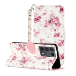 For Samsung Galaxy S21 Ultra 5G 3D Pattern Horizontal Flip Leather Case with Holder & Card Slots & Wallet & Lanyard(Rose Flower)