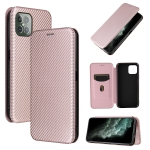 For Cubot C30 Carbon Fiber Texture Magnetic Horizontal Flip TPU + PC + PU Leather Case with Card Slot(Pink)