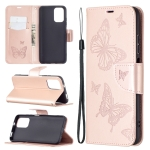 For Xiaomi Redmi Note 10 4G/Note 10s Two Butterflies Embossing  Pattern Horizontal Flip Leather Case with Holder & Card Slot & Wallet & Lanyard(Rose Gold)