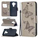 For Nokia 5.4 Two Butterflies Embossing  Pattern Horizontal Flip Leather Case with Holder & Card Slot & Wallet & Lanyard(Grey)