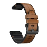 For Garmin Fenix 6 Silicone + Leather Quick Release Replacement Strap Watchband(Brown)