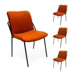 [US Warehouse] 4 PCS Household Retro Velvet Fabric Imitation Leaf Meridian Texture Dining Chair, Size: 78 x 56 x 50cm(Orange)