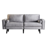 [US Warehouse] Solid Wood Frame Fabric Two-seat Sofa, Size: 180 x 82 x 77cm(Grey)