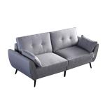 [US Warehouse] MDF + Solid Wood Frame Linen Fabric Three-seat Sofa, Size: 200 x 86 x 81cm(Grey)