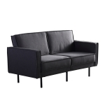 [US Warehouse] Solid Wood Frame Linen Fabric Two-seat Sofa with Double Armrests, Size: 155 x 85 x 75cm(Dark Gray)