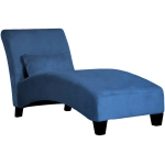 [US Warehouse] Curved Linen Cloth Chaise Longue Sofa Recliner with Decorative Pillow, Size: 158 x 85 x 67cm(Blue)