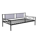 [US Warehouse] Household Metal Daybed with Upholstered Sideboard (Black)