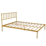 [US Warehouse] Household Retro Queen Metal Bed Frame (Gold)