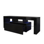 [US Warehouse] Lounge Room Living Room and Bedroom TV Cabinet with LED Lights, Size: 51.2×13.8×17.7 inch(Black)