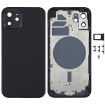 Back Housing Cover with SIM Card Tray & Side  Keys & Camera Lens for iPhone 12(Black)